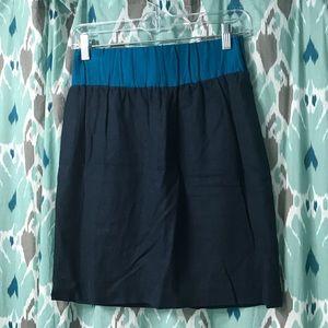 Loeffler Randall Navy/Aqua Trig Linen Skirt